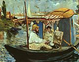 Edouard Manet Claude Monet working on his boat in Argenteuil painting