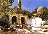 figures Canvas Paintings - Figures in the Courtyard of a Mosque