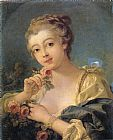 Famous Bouquet Paintings - Young Woman with a Bouquet of Roses