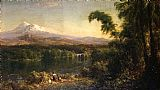 Frederic Edwin Church Figures in an Ecuadorian Landscape painting