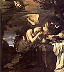 Guercino Magdalen and Two Angels painting