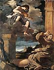 angel Canvas Paintings - St Francis with an Angel Playing Violin