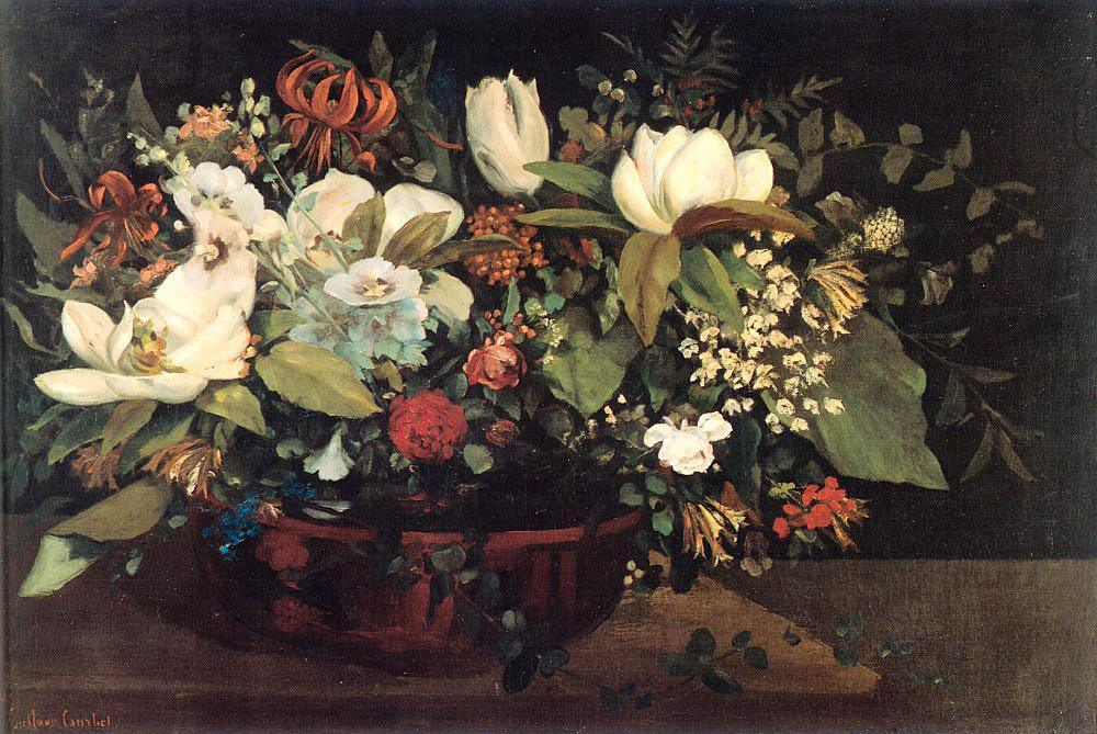 Gustave Courbet Basket of Flowers