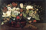 Gustave Courbet Canvas Paintings - Basket of Flowers