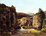 Gustave Courbet Canvas Paintings - Landscape The Source among the Rocks of the Doubs
