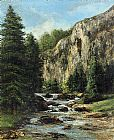 Gustave Courbet Canvas Paintings - Study for 'Landscape with Waterfall