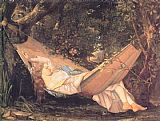 Gustave Courbet Canvas Paintings - The Hammock