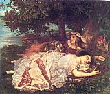 Gustave Courbet Canvas Paintings - The Young Ladies on the Banks of the Seine
