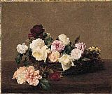 Henri Fantin-latour Famous Paintings - A Basket of Roses