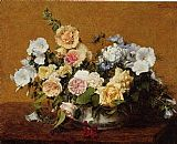 Henri Fantin-latour Famous Paintings - Bouquet of Roses and Other Flowers