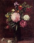 Famous Flowers Paintings - Flowers Large Bouquet with Three Peonies