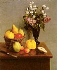 Henri Fantin-latour Canvas Paintings - Still Life With Flowers And Fruit