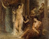 henri fantin-latour Canvas Paintings - The Bath