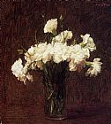 Henri Fantin-latour Famous Paintings - White Carnations