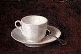 Henri Fantin-latour Famous Paintings - White Cup And Saucer