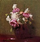 Henri Fantin-latour Famous Paintings - White Peonies and Roses Narcissus