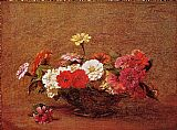 henri fantin-latour Canvas Paintings - Zinnias