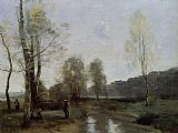 Jean-Baptiste-Camille Corot Canal in Picardi painting