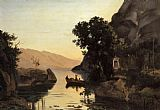 Jean-Baptiste-Camille Corot View at Riva Italian Tyrol painting