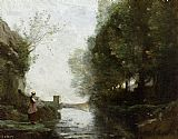 Jean-Baptiste-Camille Corot - Watercourse leading to the square tower