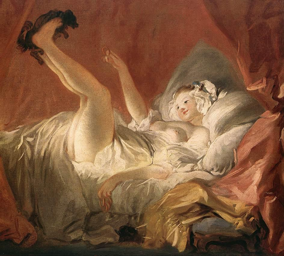 Jean-Honore Fragonard Young Woman Playing with a Dog