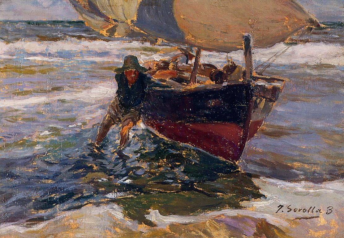 Joaquin Sorolla y Bastida Beaching the Boat (study)