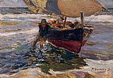 Study Canvas Paintings - Beaching the Boat (study)