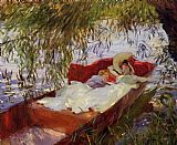 low Canvas Paintings - Two Women Asleep in a Punt under the Willows