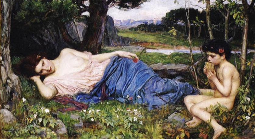 John William Waterhouse Listening to His Sweet Pipings