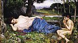 John William Waterhouse Canvas Paintings - Listening to His Sweet Pipings