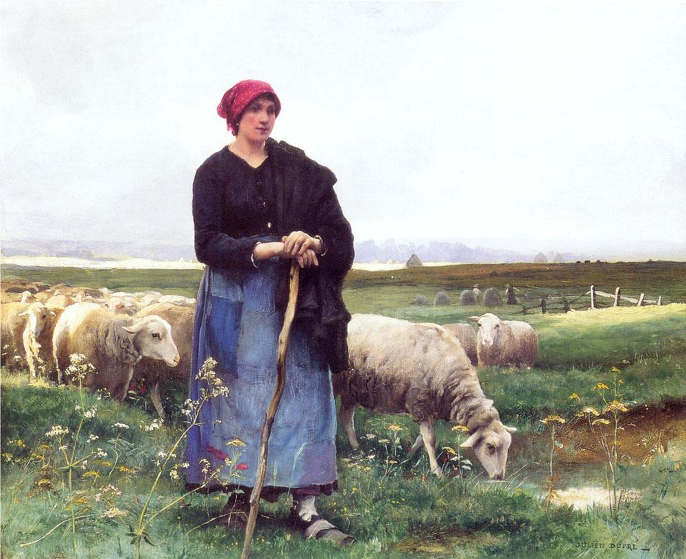 Julien Dupre A Shepherdess with her flock