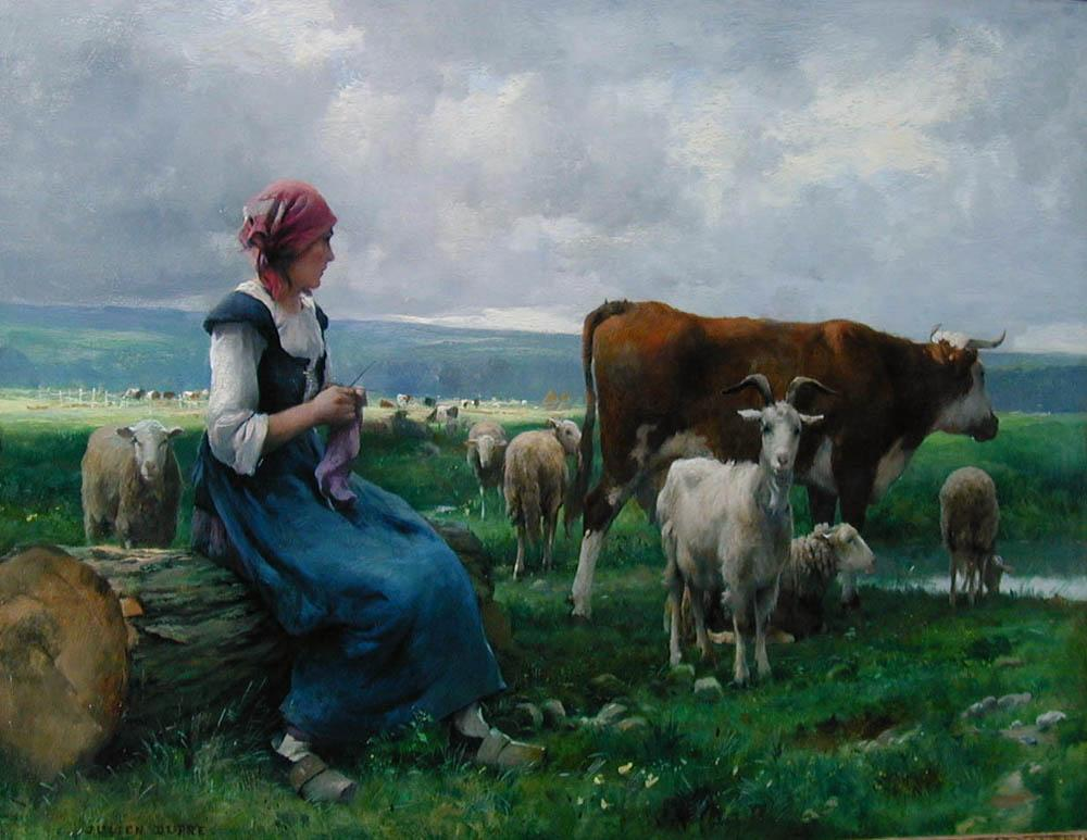 Julien Dupre Shepherdess with Goat Sheep and Cow