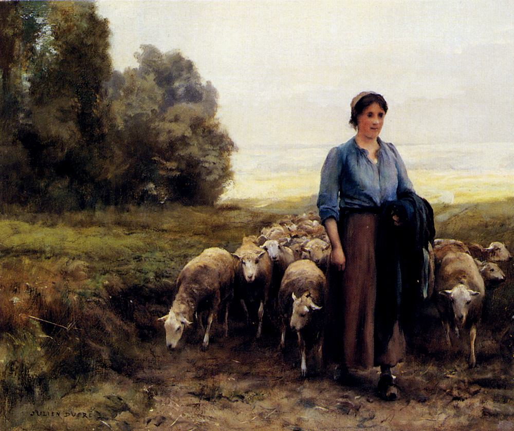 Julien Dupre Shepherdess With Her Flock