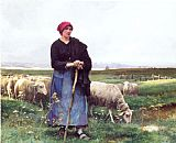 Shepherdess Canvas Paintings - A Shepherdess with her flock