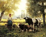 Famous Day Paintings - A Milkmaid with her Cows on a Summer Day