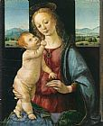 Madonna Canvas Paintings - Madonna and Child with a Pomegranate