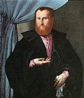 Man Canvas Paintings - Portrait of a Man in Black Silk Cloak