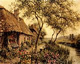 Famous River Paintings - Cottages Beside A River