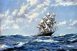 blue Canvas Paintings - The Clipper Ship Blue Jacket On Choppy Seas