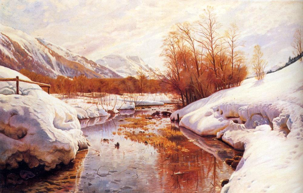 Peder Mork Monsted A Mountain Torrent In A Winter Landscape