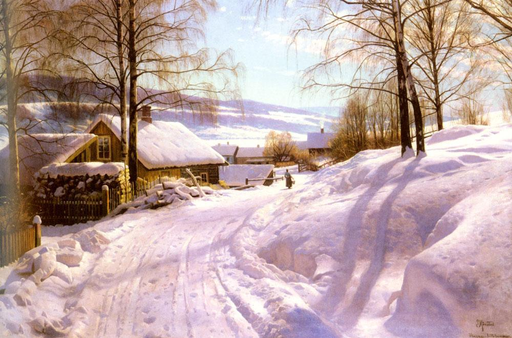 Peder Mork Monsted On The Snowy Path