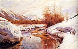 Famous Mountain Paintings - A Mountain Torrent In A Winter Landscape