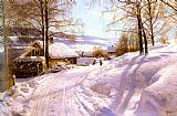 Famous Path Paintings - On The Snowy Path