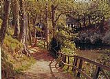 Peder Mork Monsted The forest path painting