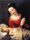 Christ Canvas Paintings - Virgin in Adoration before the Christ Child
