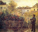 Pierre Auguste Renoir Canvas Paintings - Claude Monet Painting in his Garden at Argenteuil