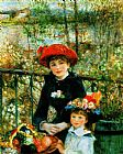 Pierre Auguste Renoir Canvas Paintings - Two Sisters on the Terrace