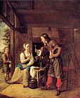 Man Canvas Paintings - A Man Offering a Glass of Wine to a Woman