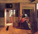 Pieter de Hooch A Mother and Child with Its Head in Her Lap painting
