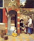 figures Canvas Paintings - Figures Drinking in a Courtyard